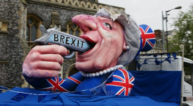 Theresa May Brexit Suicide float provokes mixed feelings in Norwich