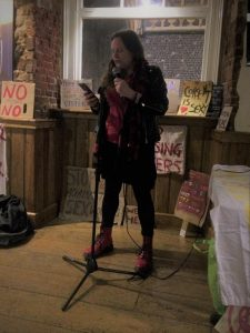Katy Jon Went speaking at Norwich Reclaim the Night. Photo by Helen Burrows