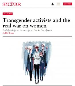 Transgender activists and the real war on women, Judith Green, The Spectator, 8 March 2018