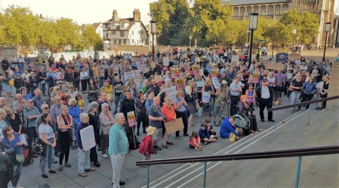 Hundreds in Norwich protest Donald Trump