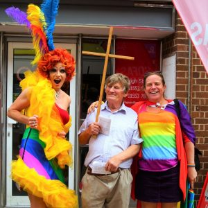 Rainbow drag queen Titti Trash & Katy Jon Went photo opp with Christian protester at King's Lynn & West Norfolk Pride
