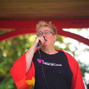 Julie Bremner speaking at King's Lynn & West Norfolk Pride