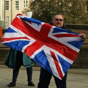 Union Jack Leave Protester