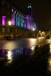Norwich City Hall, Christmas lights during trans awareness week, pink and blue